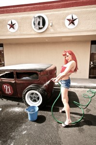 miss red pin up girl