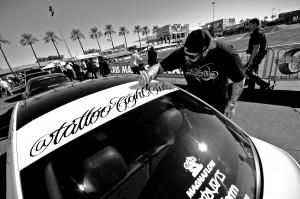 tattoo fight club lettering on sema car