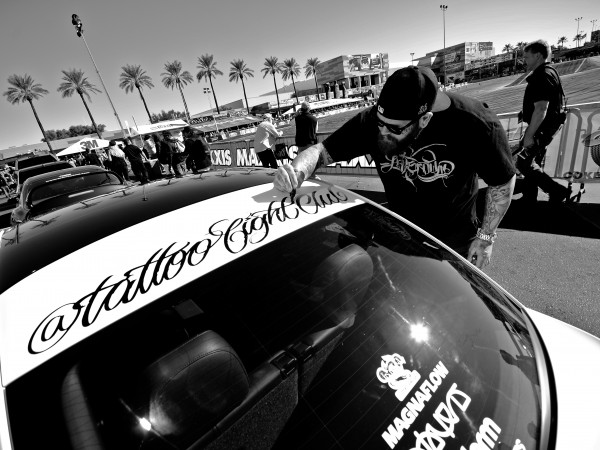 tattoo fight club lettering on sema car