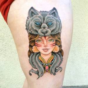 wolf headress tattoo
