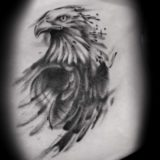 eagle head watercolor style black and grey tattoo