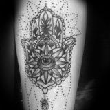 black and grey hand of fatima tattoo
