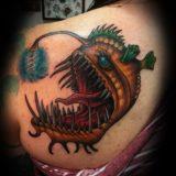 cartoon angler tattoo