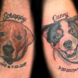 two dog portrait tattoos