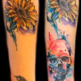 watercolor flower and skull tattoo