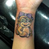 monkey tattoo on wrist