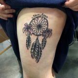 dream catcher tattoo on leg