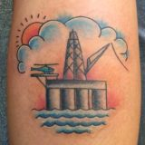 oil rig ocean tattoo