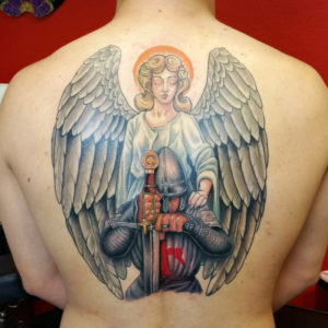 angel and warrior tattoo