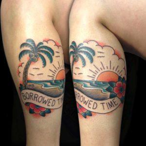 traditional sunset tattoo