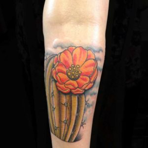 cactus with flower tattoo