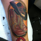 cowboy boots and hat tattoo