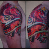 crowned red rooster tattoo