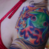 green frog tattoo