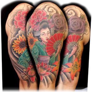 geisha girl with flower tattoo