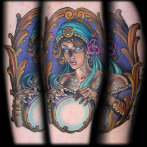 gypsy with crystal ball tattoo