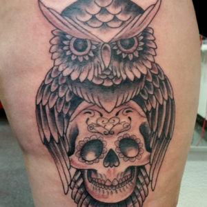 owl and day of dead tattoo
