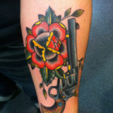 pistol rose tattoo