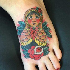 russian nesting doll tattoo on foot