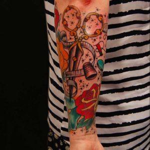 sewing theme tattoo