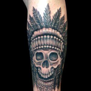 skull with headress tattoo