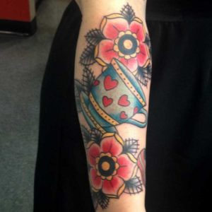 teacup and flower tattoo