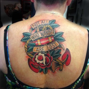 traditional anchor tattoo on back