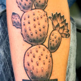 black and grey cactus tattoo