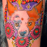 heart with dog portrait tattoo