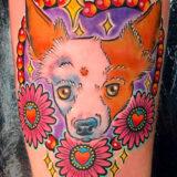 heart with dog portrait tattoo