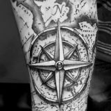 black and grey compass map