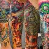 scifi leg sleeve tattoo