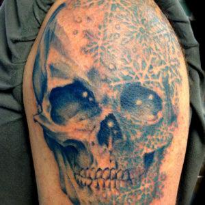 snowflake skull tattoo