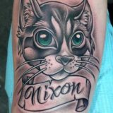 Cat portrait tattoo by Chad James