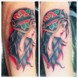 traditional motorcycle gypsy girl tattoo