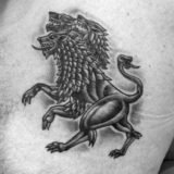 black and grey three headed lion