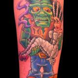 cartoon frankenstien and bride tattoo