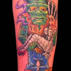 cartoon frankenstien and bride tattoo