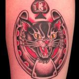 horseshoe lucky cat tattoo