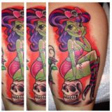 new school zombie pin up tattoo
