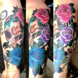 rose color sleeve tattoo