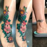 floral color foot tattoo