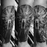 shattered clock black and grey tattoo
