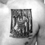 POW MIA black and grey tattoo