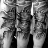 plague doctor black and grey tattoo