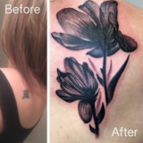 flower black and grey cover up tattoo