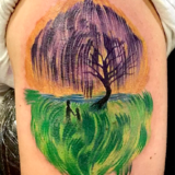 watercolor landscape tattoo