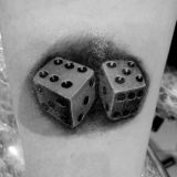 dice black and grey tattoo