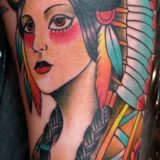 indian lady headress tattoo