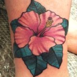 pink hibiscus tattoo